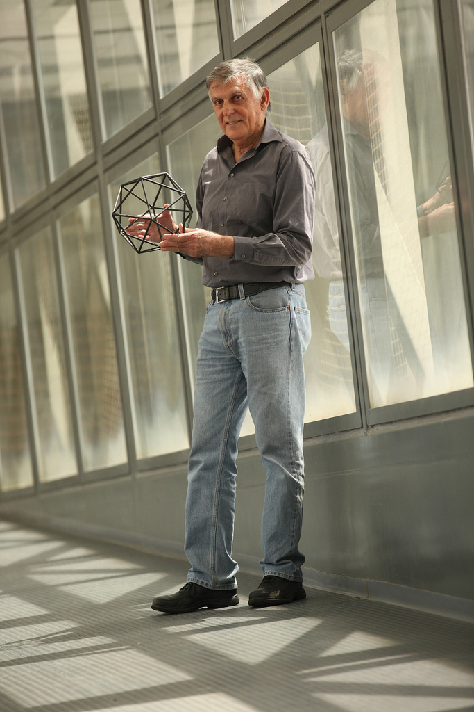 Prof. Dan Shechtman with a model of the quasicrystal. Photo courtesy of the Technion