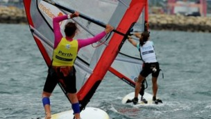 Lee Korzits rounds a mark in the first Gold Fleet race in the RS:X women's windsurfer class at the ISAF World Sailing Championships off Fremantle near Perth on December 8, 2011. Photo by GREG WOOD/AFP/Getty Images