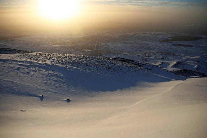 Snow blankets Mount Hermon. Photo by Doron Horowitz/FLASH90.
