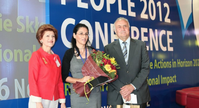 Sarit Sivan with European Commissioner for Education, Culture, Multilingualism and Youth Androulla Vassiliou, and Cyprus University President Charis Charalambous.
