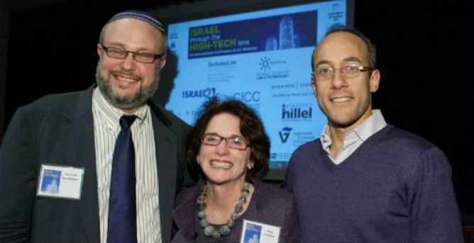 "Berkeley Institute for Jewish Law Faculty Director Ken Bamberger and Dan Senor flank ISRAEL21c President Amy Friedkin. Photo by Bruce Cook"" title=""Berkeley Institute for Jewish Law Faculty Director Ken Bamberger and Dan Senor flank ISRAEL21c President Amy Friedkin. Photo by Bruce Cook"