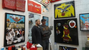 Yuval Caspi, left, and Ido Shemi, right, at their shared gallery in South Tel Aviv. Photo by Karin Kloosterman