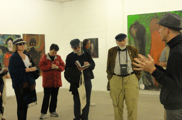 At the Rosenfeld Gallery with CTLV guide Yonatan Mishal, far right. Photo by Karin Kloosterman
