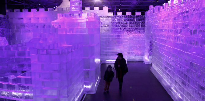 The Tower of David in ice. Photo by Kobi Gideon/Flash90.