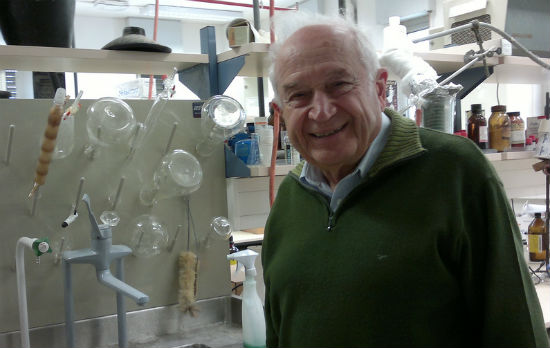 Prof. Mechoulam in his lab at Hadassah-Hebrew University. Photo by Abigail Klein Leichman