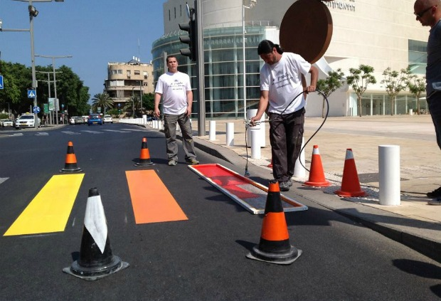 Tel Aviv painted its crosswalks in rainbow colors as a prelude to Gay Pride Week.