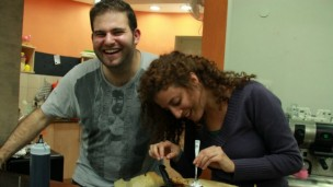 Tel-Hai biotechnology major Eliran Smilovich and education major Naama Kohavi have worked at Café Motek for three years. Kohavi plans to continue volunteering there after she graduates. Photo courtesy of Enosh