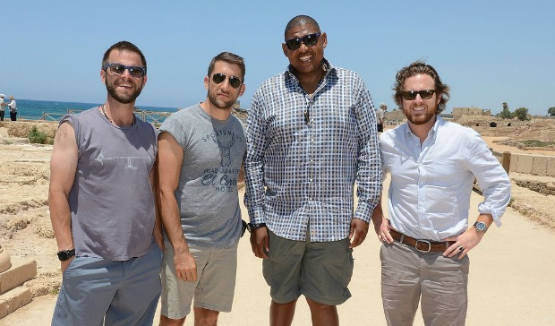 CSI stars, from left, Carmine Giovinazzo, Jonathan Togo, Omar Benson Miller and AJ Buckley enjoying Caesarea. Photo by Michael Kovac/WireImage