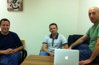 From left, eDealya founder and VP product Ophir Sweiry, director of R&D Alex Pretsev, founder and CEO Chaim Zucker.