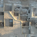 An aerial view of the ancient garden site.