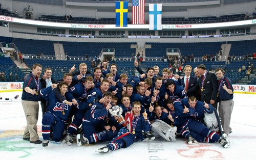 IntelliGym-trained US Hockey under-18 team celebrating its world championship.