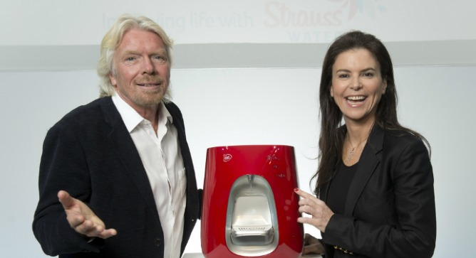 Richard Branson and Ofra Strauss introducing Virgin Pure.