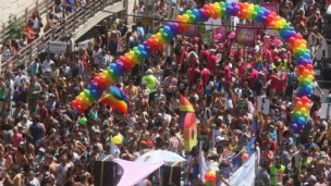 Crowds of people thronged to Tel Aviv for the Gay Pride Parade. Photo by Roni Schutzer/Flash90.
