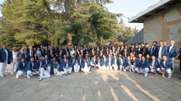 The Olympic and Paralympic teams at the President's Residence. Photo by Abigail Klein Leichman