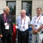 IOC secretary-general Efraim Zinger and Zvi Varshaviak, president of the IOC, with the Italians at the memorial ceremony. (IOC)