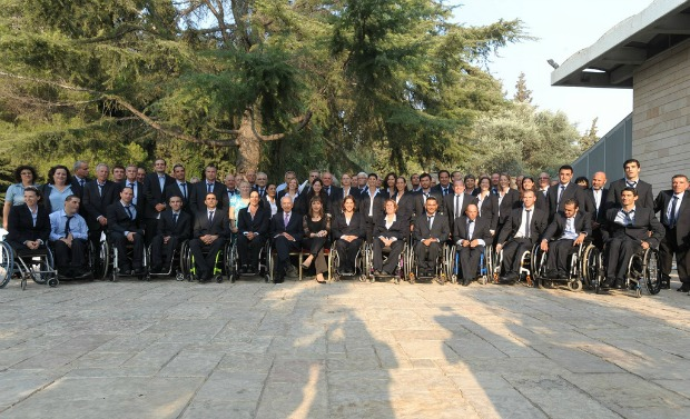 The Olympic and Paralympic teams at the President's Residence.