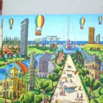 Gay rainbow colors infuse Perez's depictions of Tel Aviv.