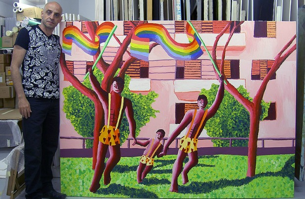 Perez's works often depict gay families.