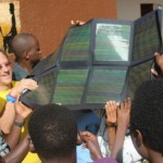 Wearing his signature yellow kippah, Abramowitz teaches about solar power in the Agahozo Shalom Youth Village in Rwanda.