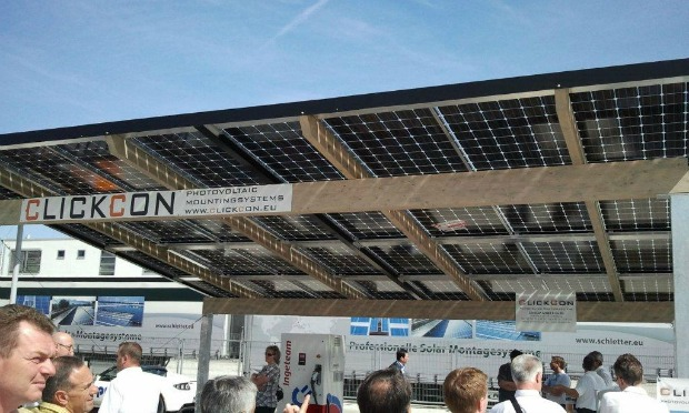 The bifacial solar panels in an installation.