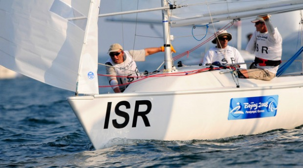 Israel's Paralympic Sonar sailing team -- Benny Wexler, Arnon Efrati, Dror Cohen -- at Beijing. Photo by Chien-min Chung/Getty Images