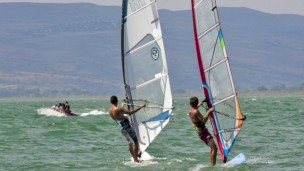 Water sports are extremely popular on the Kinneret. Photo by Flash90.