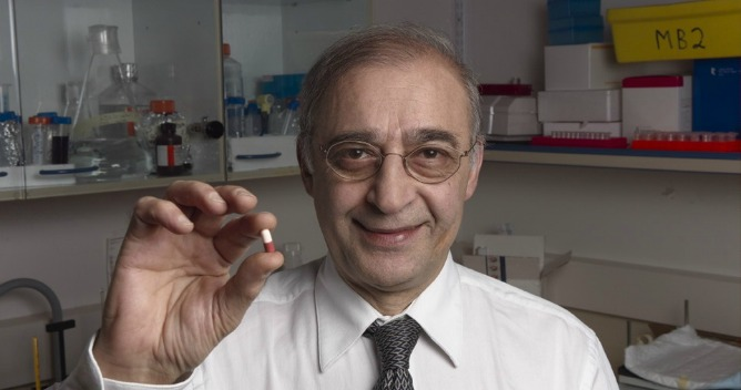 Prof. Moussa Youdim with the drug he developed.