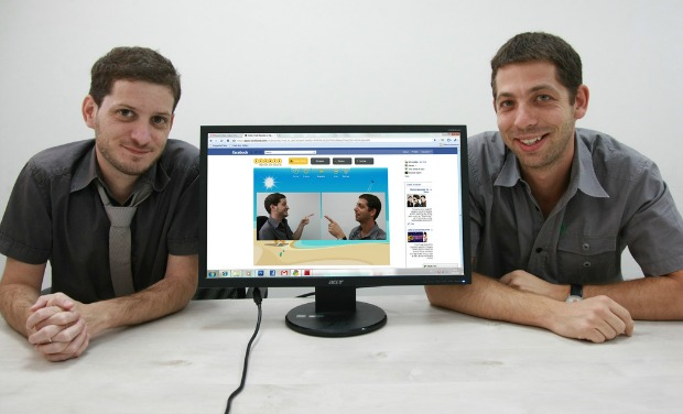 Dany Fishel and Ilan Leibovitch demonstrate the effects on their video chat program.