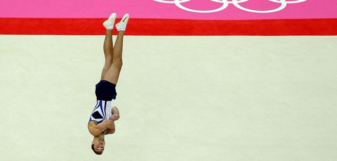 Alex Shatilov competes in the artistic gymnastics men's floor exercise final on Day 9 of the London 2012 Olympic Games.