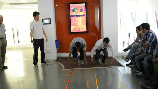 You can test your own athletic skills at the museum. Photo by Reuven Swartz