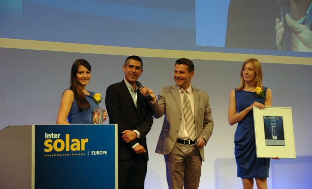 Tigi's Zvika Klier accepting an Intersolar Europe prize in June.