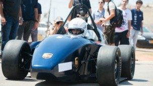 BG Racing's entry into the Formula SAE competition doing demonstration laps driven by Ran Dekel. Photo by Dani Machlis