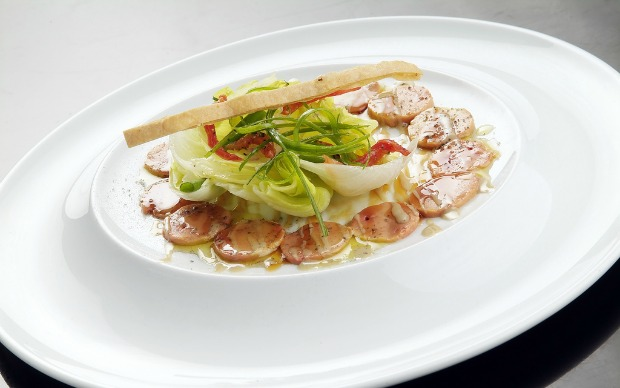 Goose-liver Carpaccio is a popular Messa dish.