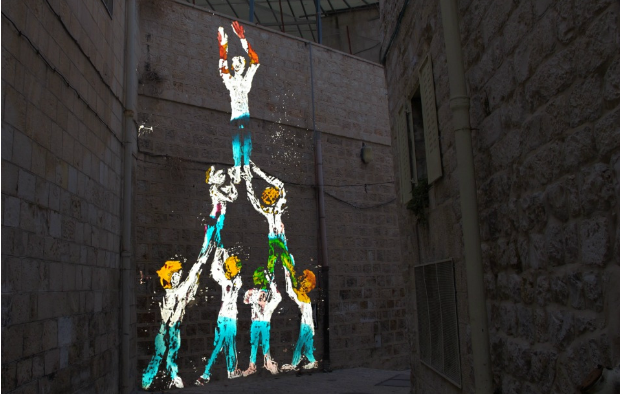 "Nikola Dicke's ""Higher Up"" from this year's Jerusalem Light Festival."