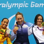 On the podium with Norway's Sarah Rung (gold), Spain's Teresa Perales (silver) and Israel's bronze medallist Inbal Pezaro.  (www.london2012.com)