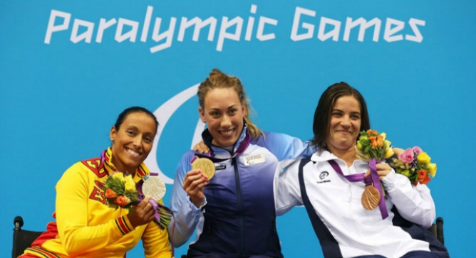 From left, silver medalist Teresa Perales of Spain, gold medalist Sarah Rung of Norway and bronze medalist Inbal Pezaro of Israel took the top three spots in the women's 200m freestyle at the London Paralympic Games.