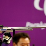 Doron Shaziri during the men's R7 - 50m Rifle 3 positions - SH1 at the Paralympic Games. (www.london2012.com)