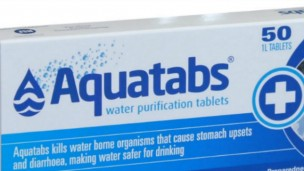 On their way to Syria: AquaTabs water purification tablets.