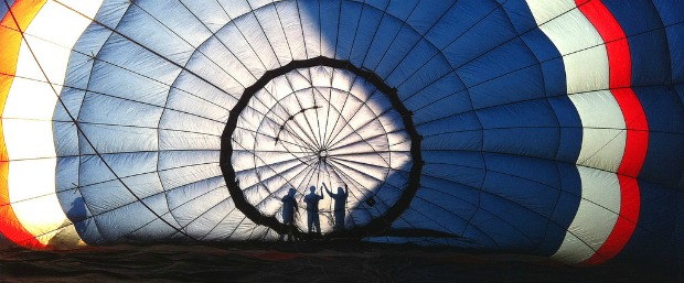 Inflating the balloon is part of the adventure.