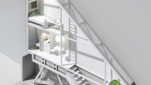 An artist's rendering of the interior of Keret House. Photo courtesy of Centrala.