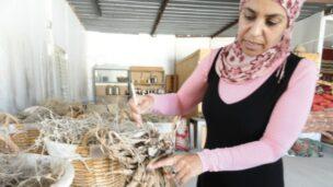 Mariam Aborkeek in her workshop, outside of Tel Sheva.