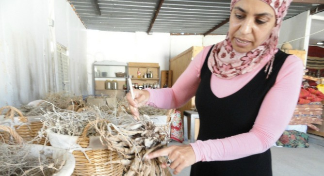 Mariam Aborkeek in her workshop, outside of Tel Sheva.