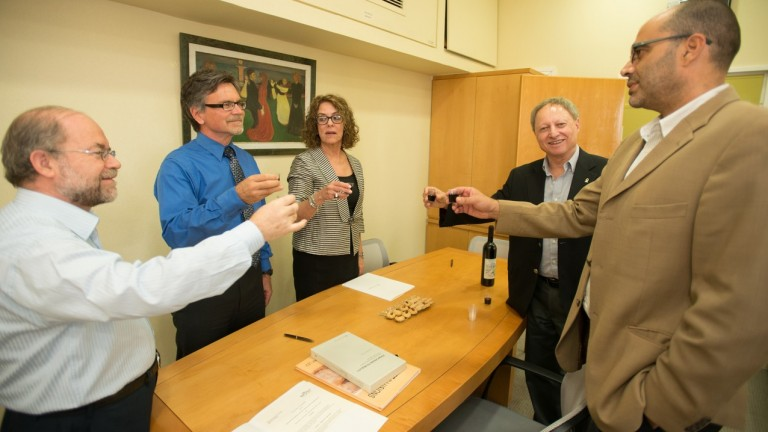 Honorary Consul Vladimir Cizelj, Prof. Amos Drory - VP External Affairs, Prof. Steven Howell, Acting Vice Chancellor BIUST, Prof. Rivka Carmi, President of BGU, and Ambassador Dan Shaham - Africa Division raise a toast to the new research agreement. (Dani Machlis)