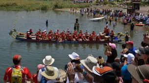 Spectators cheer on paddlers at the Dragon Boat Israel Festival on the Sea of Galilee. (Dragon Boat Israel)