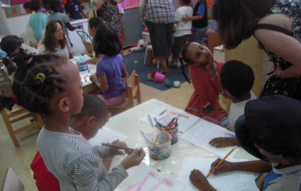 The visitors spent time with children at Tel Aviv's famous Bialik-Rogozin School.