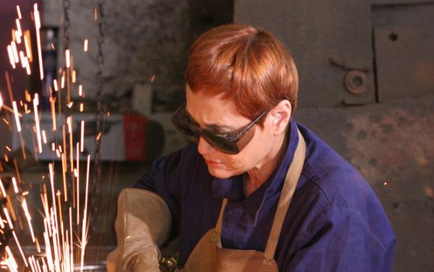 Dina Merhav at her workshop.