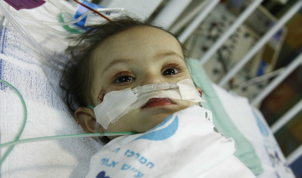 Leen recovering after her surgery performed by Save a Child's Heart. Photo by Sheila Shalhevet.