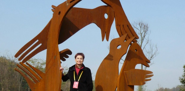 A Merhav sculpture installed in Romania.