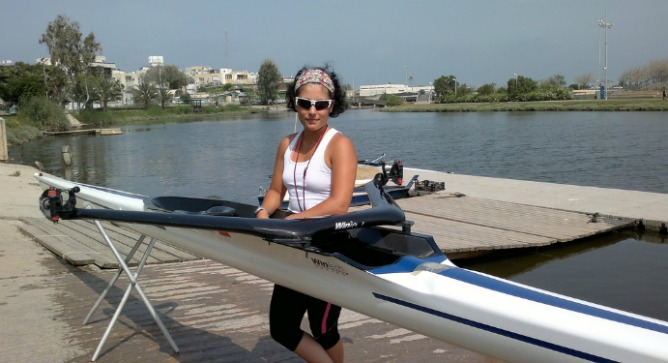 Feingold wants to purchase her own boat, but for now uses one provided by the club. Photo by Abigail Klein Leichman