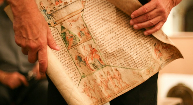 A 16th century Scroll of Esther, viewed at the home of collector Bill Gross. Photo by Alyssa Kapnik